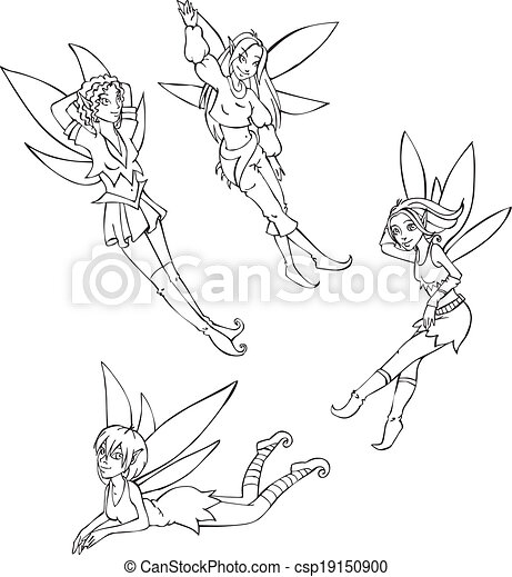 Outline set of cute fairies. black and white vector ...