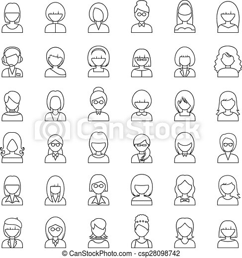 Outline set people icons. vector - csp28098742