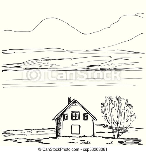 Good Outline Sketch Of A House. Hand Drawn Landscape   Csp53283861