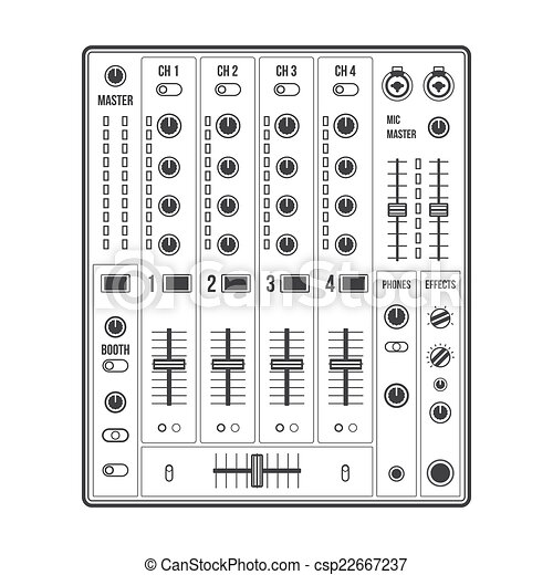 vector outline sound dj mixer with knobs and sliders