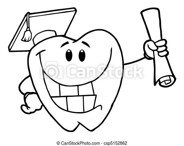 Outline successful graduate tooth Coloring page outline of