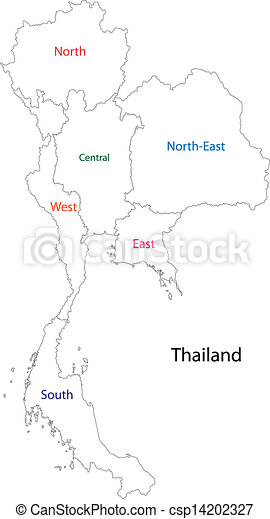 Vector Illustration Of Outline Thailand Map With Regions - Thailand regions map