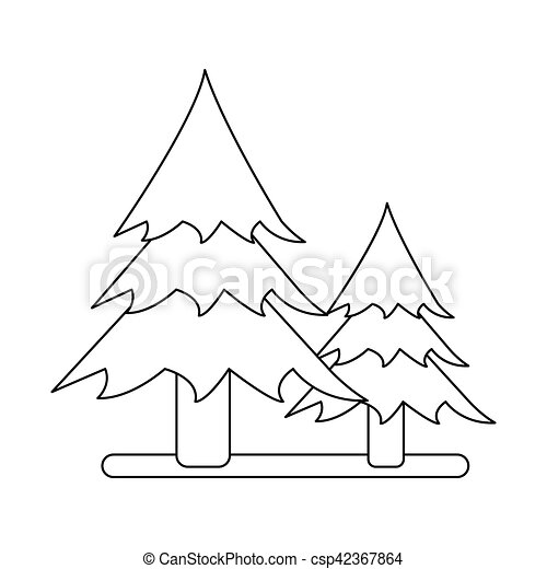Outline Two Pine Tree Forest Camping Icon Vector Illustration Eps 10