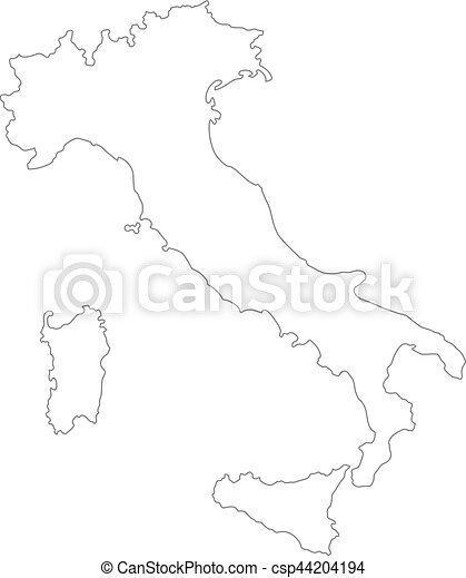 Italy Map Black And White.Outline Vector Italy Map Black Vector Outlined Cartography Map Of