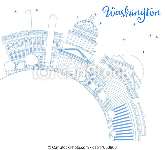 Outline Washington DC Skyline with Blue Buildings and Copy Space. - csp47850968