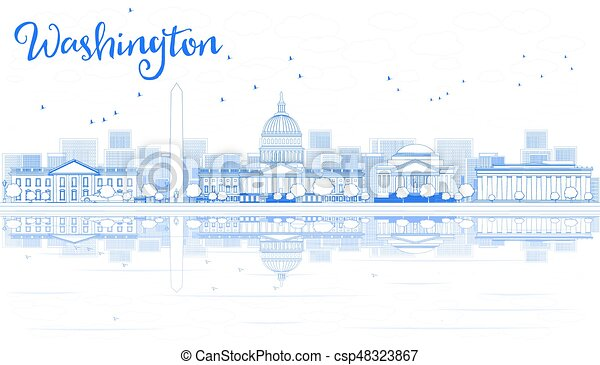 Outline Washington DC Skyline with Blue Buildings and Reflections. - csp48323867