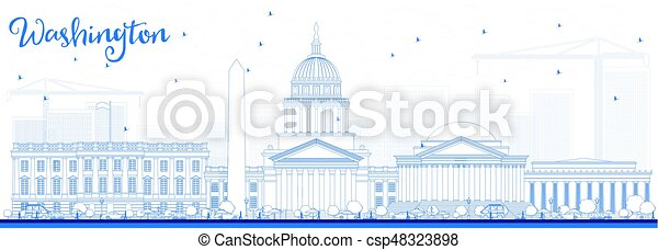 Outline Washington DC Skyline with Blue Buildings. - csp48323898