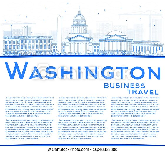 Outline Washington DC Skyline with Blue Buildings and Copy Space. - csp48323888