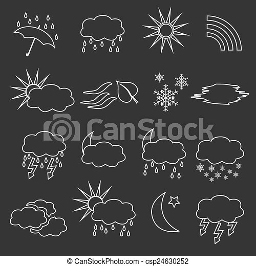 Outline Weather Forecast Symbols White Outline Weather And Forecast