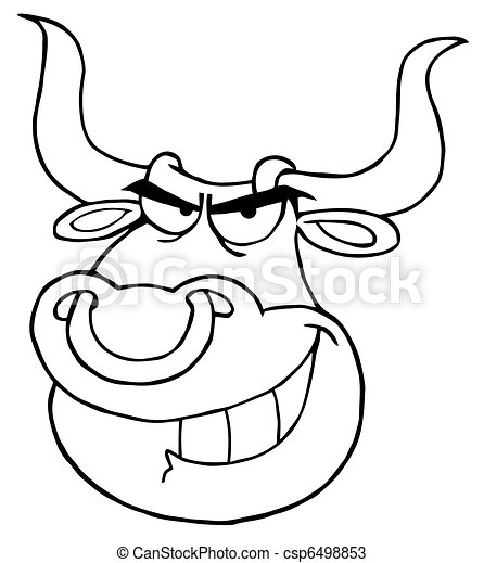 Outlined Angry Bull Head  - csp6498853
