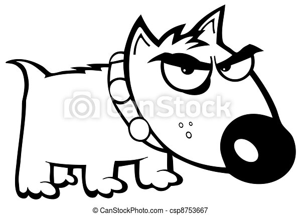 Outlined, Angry Dog Bull Terrier - csp8753667