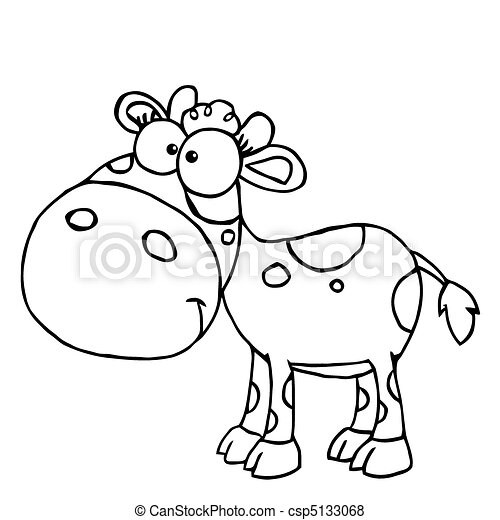 Vector Of Outlined Baby Cow