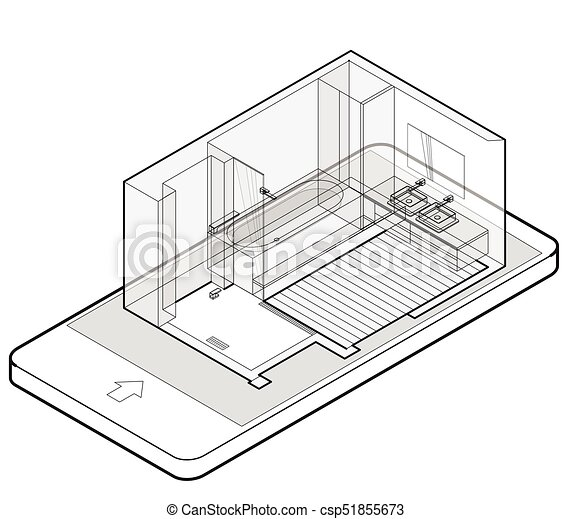 Outlined Bathroom With Wooden Floor In Mobile Phone Wire Isometric Shower Enclosure