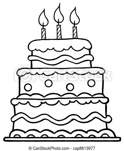 Outlined Birthday Cake  - csp8613977
