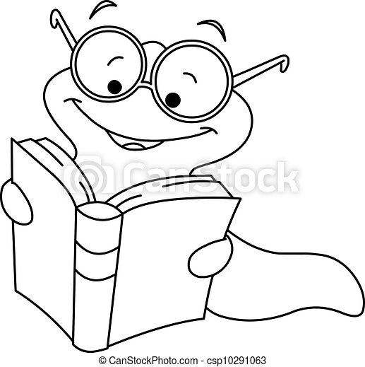 Outlined book worm - csp10291063
