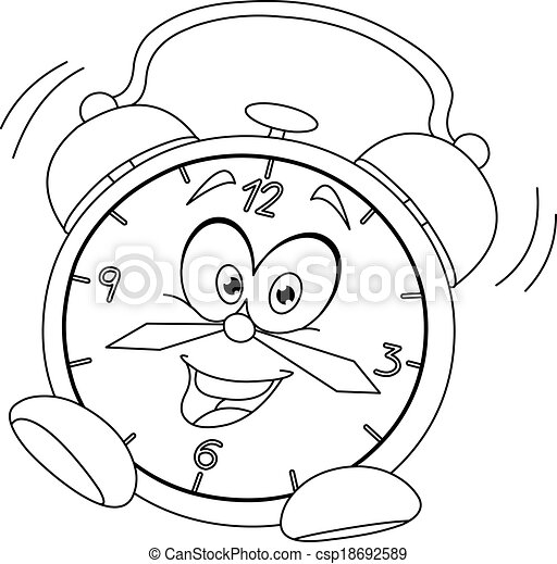 Outlined cartoon alarm clock - csp18692589