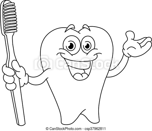 Outlined cartoon tooth with toothbrush - csp37962811