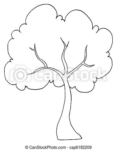 Outlined Cartoon Tree Illustration Black And White Tree Illustration