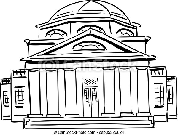 Outlined Church With Domed Roof Outlined Front View On Single