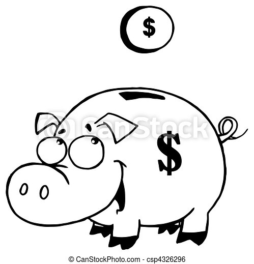 Outlined coin and piggy bank for Piggy bank coloring page