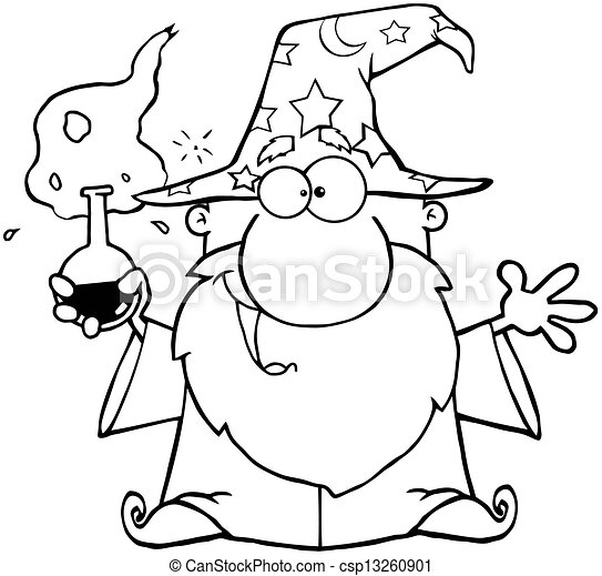Outlined Crazy Wizard  - csp13260901