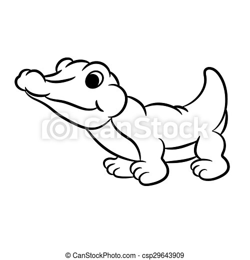outlined crocodile vector illustration isolated on white vector rh canstockphoto com