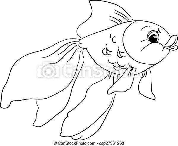 Outlined cute cartoon goldfish - csp27361268