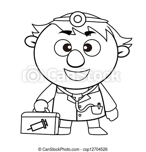 Outlined Cute Doctor Black And White Coloring Page Outline Of A