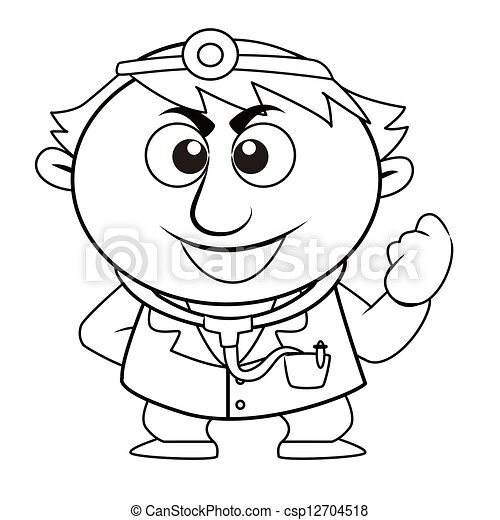 Outlined cute doctor Black and white coloring page outline
