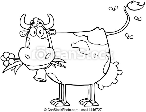 Outlined Dairy Cow With Flower - csp14446727
