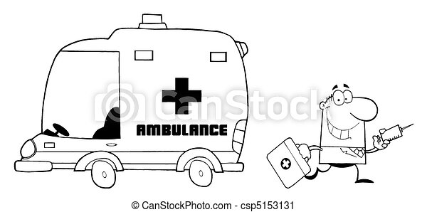 Outlined doctor running with a bag . Coloring page outline ...