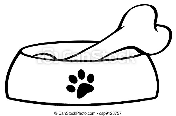 outlined dog bowl with big bone cartoon character rh canstockphoto com dog chewing bone cartoon dog bone cartoon pic