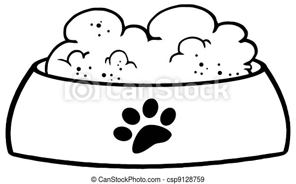 Outlined Dog Bowl With Food - csp9128759