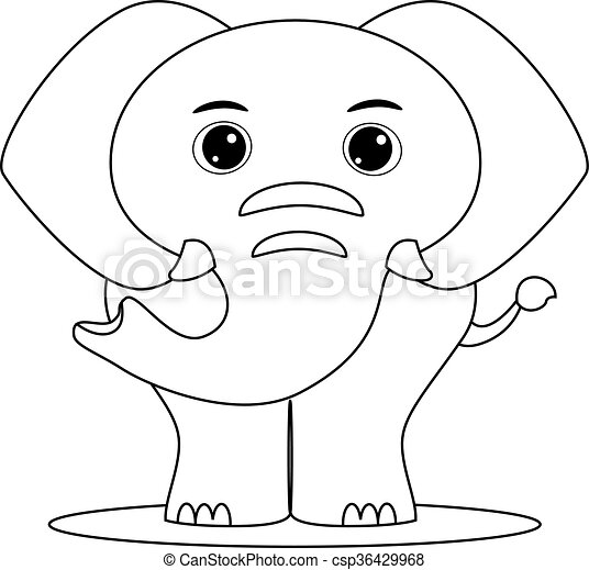 Coloring Book Outlined Elephant
