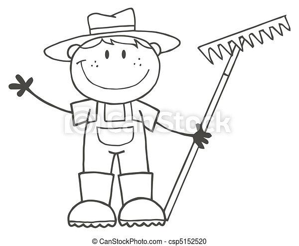 Outlined Farmer Boy - csp5152520