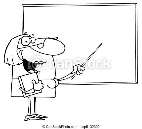 Outlined Female Teacher - csp5132302