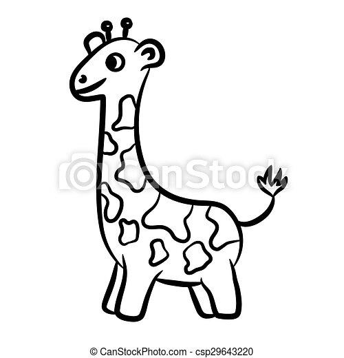 Outlined Giraffe Vector Illustration Isolated On White