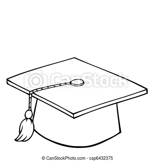 Outlined Graduation Cap - csp6432375