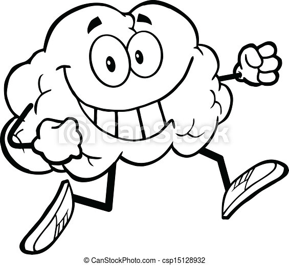 Outlined Healthy Brain Jogging - csp15128932