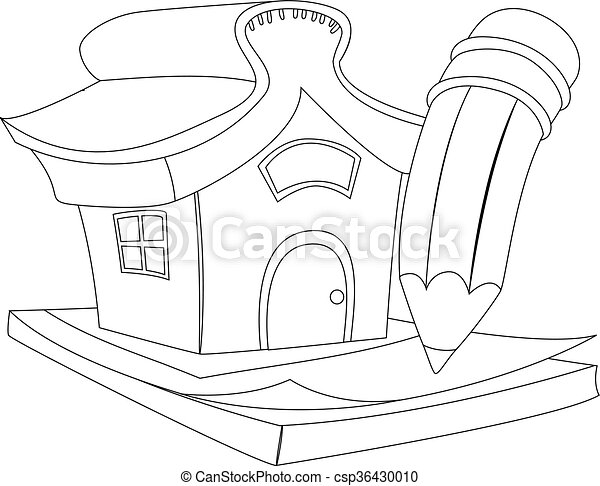 Coloring book outlined house with pencil.