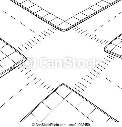 Outlined Intersection Empty Hand Drawn Street