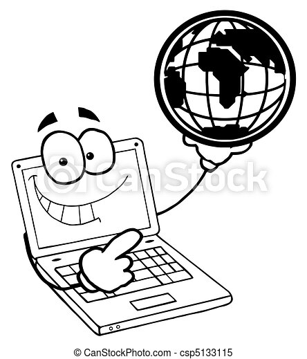 Outlined Laptop Guy Holding a Globe - csp5133115