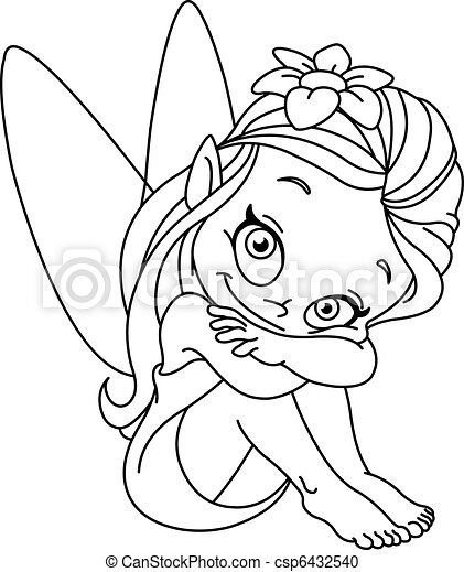Outlined little fairy - csp6432540