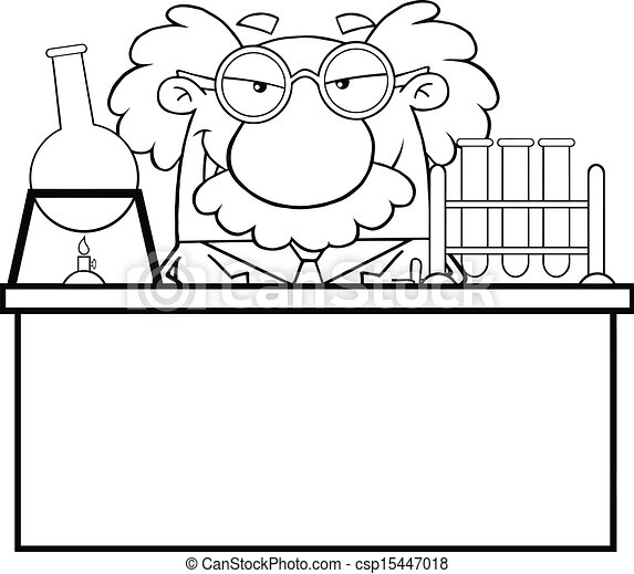Outlined Mad Scientist Or Professor - csp15447018