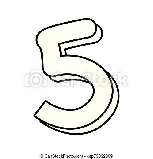 outlined number five on white background - csp73032809