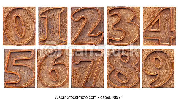 outlined numbers in letterpress type - csp9008971