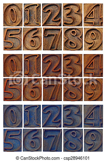outlined numbers in letterpress wood type - csp28946101