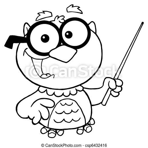 outlined owl teacher cartoon outlined professor owl holding clip rh canstockphoto com owl teacher clipart black and white owl teacher clipart black and white