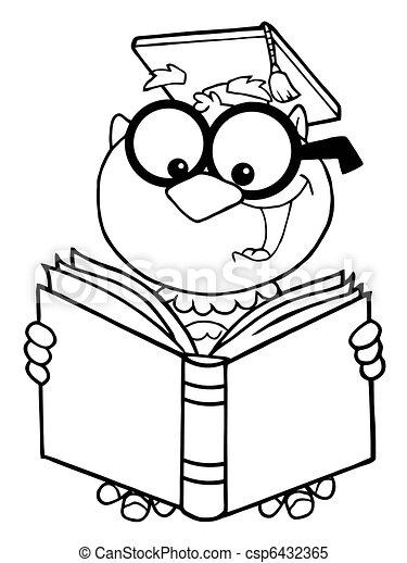 Outlined Owl Teacher Reading A Book - csp6432365