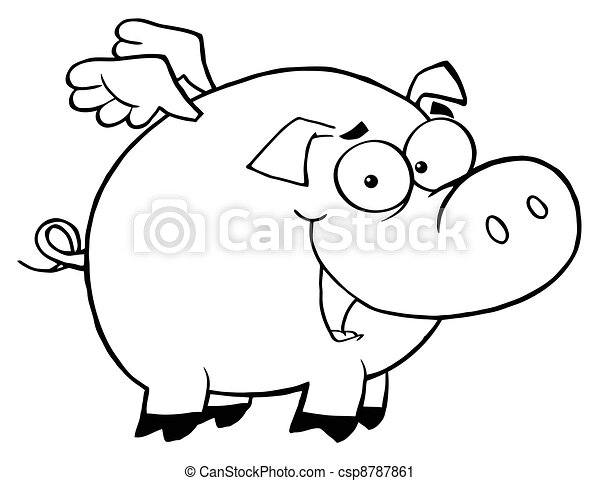 outlined pig flying cartoon character rh canstockphoto com flying pig clipart free flying pig clip art pattern